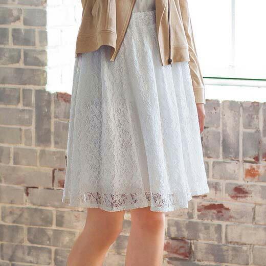 ●OUTLET●スカート/レディース/春/6L/5L/4L/3Lサイズふんわり可愛い春の旬アイテムは美シルエットが決め手レースフレアースカート(3L〜6L) ryuryu/リュリュ らなん 30代 ファッション レディース アウトレット 大きいサイズ 白 ホワイト 40代