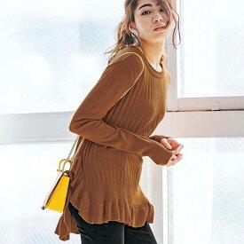 ●SALE!!セール● チュニック M L LL 3L 裾フリルニットチュニック(M〜3L) ryuryu リュリュ レディース シャツ ブラウス 在庫処分 アウトレット 40代 ファッション