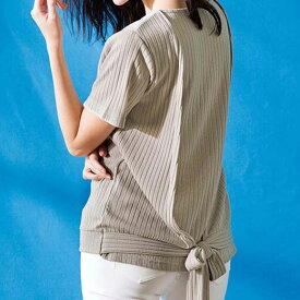 ●SALE!!セール● 半袖UVカットひんやり後ろリボンカットソー 夏 レディース 半袖 ryuryu リュリュ ラナン Ranan 夏 20代 30代 40代 ファッション レディース カットソー 接触冷感 涼しい UV対策 夏服 在庫処分 アウトレット