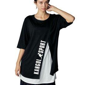 Tシャツ M L LL 3L <KANGOLSPORT>重ね着風レイヤードシャツ(M〜 3L) ryuryu リュリュ 大人 夏 夏服 シャツ トップス 大きいサイズ