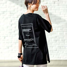 カットソー・プルオーバー M L LL 綿100%バックプリントTシャツ(M〜LL) ryuryu リュリュ レディース 春 春服 夏 夏服 トップス 40代 レディースファッション 大きいサイズ