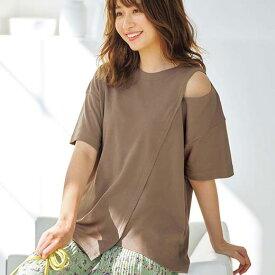 Tシャツ S M L LL 3L ショルダースリットTシャツ(S〜3L) ryuryu リュリュ レディース 春 春服 夏 夏服 シャツ トップス 40代 レディースファッション 大きいサイズ