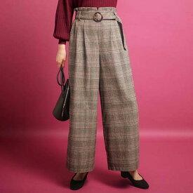フルレングスパンツ S M L LL 3L ベルト付ウエストフリルワイドパンツ(S〜3L) 40代 レディースファッション ryuryu リュリュ 大人 秋 秋服 ロングパンツ 40代 ファッション 大きいサイズ