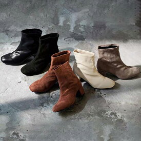 【MAX20%OFFクーポン配布中】ブーツ S(22.5cm) M(23.0〜23.5cm) L(24.0cm) LL(24.5cm) スクエアトゥストレッチショートブーツ(S(22.5cm)〜LL(24.5cm)) 40代 レディースファッション ryuryu リュリュ 大人 秋 秋服 ブーツ 靴 40代 ファッション