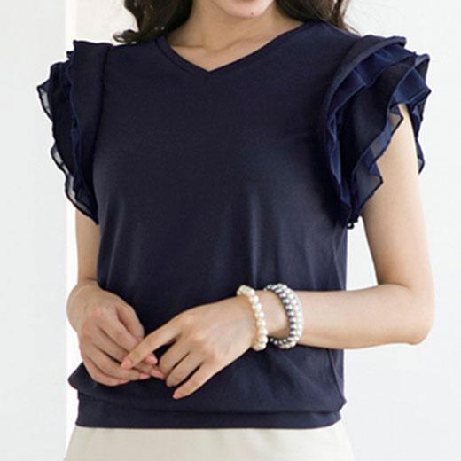 ●SALE!!セール●袖フリルVネックTシャツ ryuryu/リュリュ 30代 40代 ファッション レディース アウトレット 母の日 在庫処分