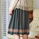 ●SALE!!セール●パネルプリントギャザースカート(M〜3L) ryuryu/リュリュ らなん 30代 ファッション レディース …