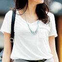 ●SALE!!セール●美ラインポケット付VネックTシャツ ryuryu/リュリュ 30代 ファッション レディース アウトレット【SALE_170420】