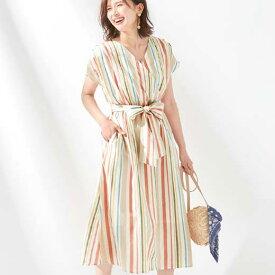 ワンピース M L LL 3L マルチストライプワンピース(M〜3L) ryuryu リュリュ 20代 30代 40代 レディース ファッション 夏 夏服 ゆったり おしゃれ オシャレ かわいい ナチュラル カジュアル 可愛い 大人 きれいめ 上品 Alotta