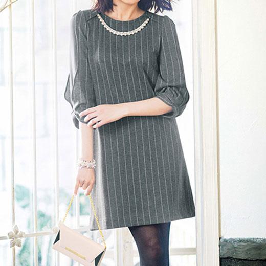 ●SALE!!セール●袖異素材カットソーワンピ ryuryu/リュリュ 30代 40代 ファッション レディース アウトレット