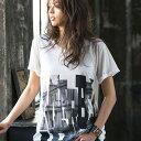 Tシャツ M LL L 3Lロング丈プリントゆるTシャツ ryuryu/リュリュ らなん ラナン Ranan 30代 40代 ファッション レディースレディース 半袖 シャツ トップス 夏 白 ホワイ