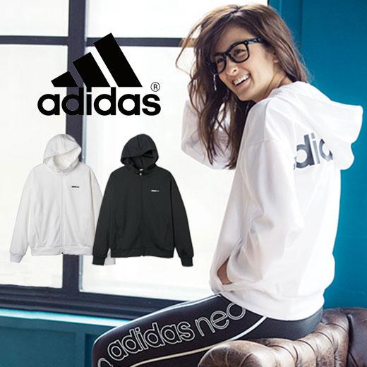 パーカー S M L<adidas neo>ロゴスウェットジップパーカ ryuryu/リュリュ ラナン Ranan 30代 40代 ファッション レディース