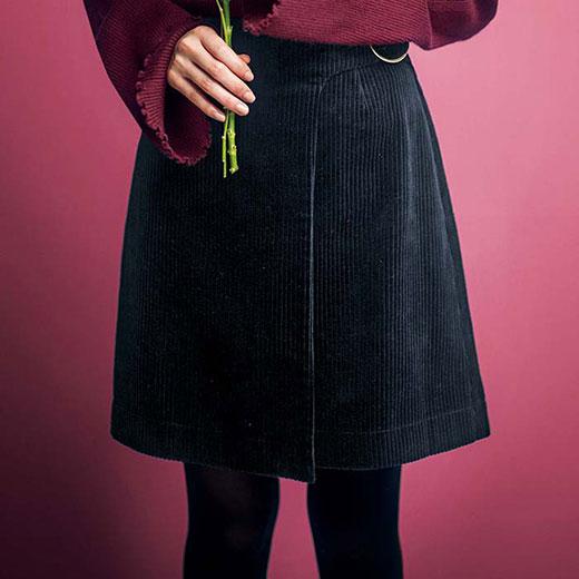 【クーポン配布中】スカート S M LL Lインナーパンツ付ラップ風コーデュロイスカート(S〜LL) ryuryu リュリュ 30代 ファッション レディース 白 ホワイト 40代
