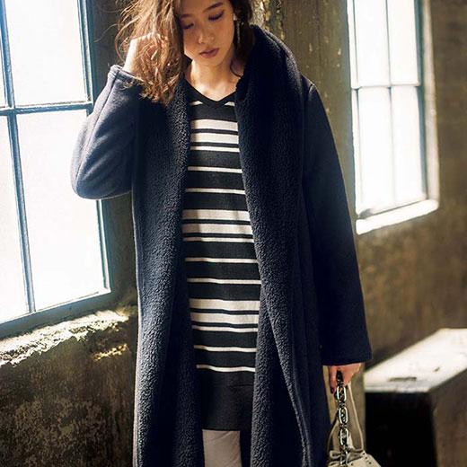 【クーポン配布中】ロングコート S M LL L軽くてあったか総裏ボアガウンコート(S〜LL) ryuryu リュリュ 30代 ファッション レディース 白 ホワイト 40代