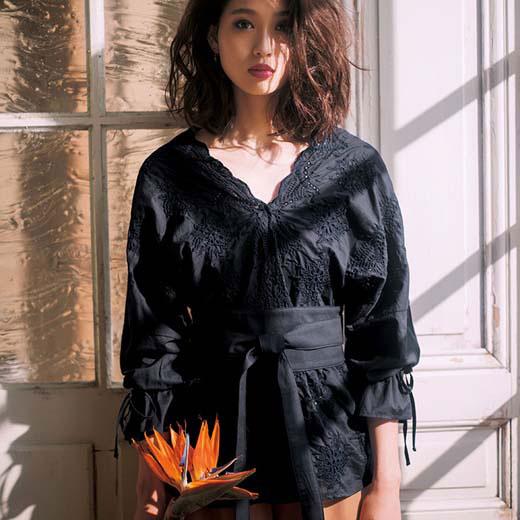 ブラウス S M LL Lスカラ刺しゅう総レースブラウス(S〜LL) ryuryu リュリュ 30代 ファッション レディース バニ BANI 40代