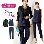 着丈長めのジャケットは、パンツとのバランスがよくスタイルアップを叶えます。洗える!ストライプセットアップ3点スーツ(7号〜13号)ryuryu/リュリュラナンRanan30代40代ファッションレディース