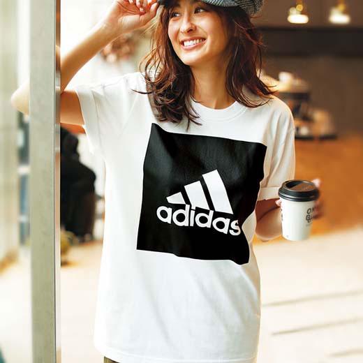 【クーポン配布中】アディダス カットソーS M<adidas>ビッグスクエアロゴTシャツ ryuryu/リュリュ ラナン Ranan 30代 40代 ファッション レディースカットソー 長袖 レディース