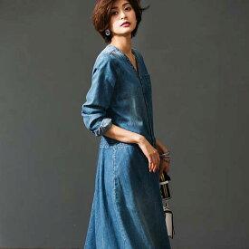 ワンピース M LL L 3Lロング丈デニムワンピース(M〜3L) ryuryu/リュリュ 30代 40代 ファッション レディース ラナン Ranan 春服 ワンピース 大人