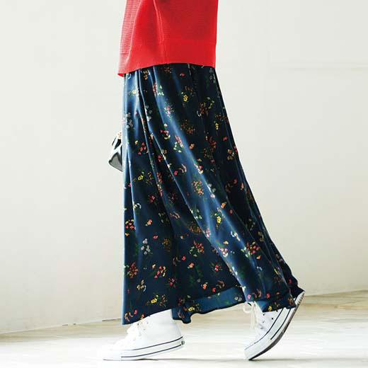 スカート 5L 4L 3Lプリントロングフレアースカート(3L〜5L) ryuryu/リュリュ 30代 40代 ファッション レディース 大きいサイズ ラナン Ranan 春服 スカート ボトムス フレア Aライン