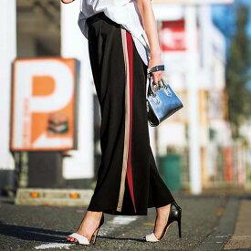 ロングパンツ M LL L美シルエットサイドラインワイドパンツ レディース 夏 ryuryu リュリュ レディース バニ BANI 夏服 pt 40代 レディースファッション