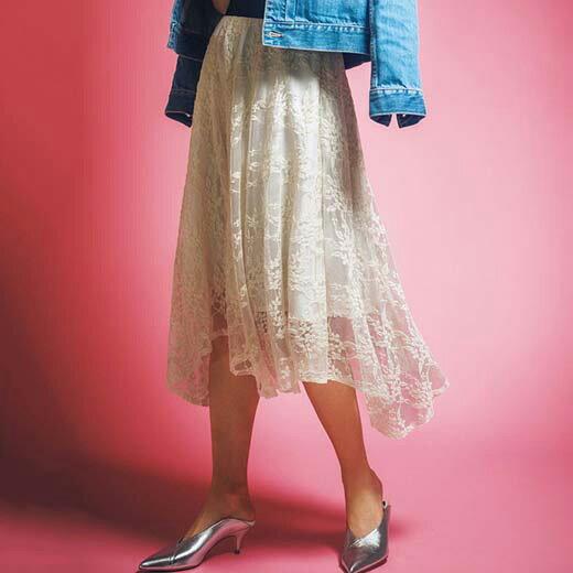 ●SALE!!セール●フレアースカートラメゴム使いイレヘムレーススカート ryuryu/リュリュ 30代 40代 ファッション レディース バニ BANI 夏服 アウトレット 在庫処分