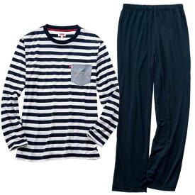 パジャマ 5L 4L 3L<EDWIN>ボーダーTシャツパジャマ(3L〜5L) リュリュ ryuryu 40代 50代 60代 紳士 ファッション 大きいサイズ パジャマ メンズ 男性