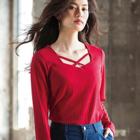 Tシャツ S M LL Lクロスリブカットソートップス(S〜LL) ryuryu リュリュ レディース Tシャツ 赤 ボルドー 秋冬 冬 冬服 バニ BANI 40代 レディースファッション