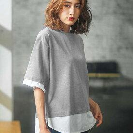 Tシャツ S M LL LレイヤードデザインチュニックTシャツ(S〜LL) ryuryu/リュリュ 30代 40代 ファッション レディース GeeRA ジーラ 夏服 トップス Tシャツ 半袖