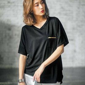 Tシャツ S M LL LジップポケットサイドタックゆるTシャツ(S〜LL) ryuryu/リュリュ 30代 40代 ファッション レディース GeeRA ジーラ 夏服 トップス Tシャツ 半袖