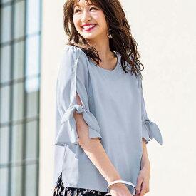 ブラウス 3L麻調素材リボンブラウス(3L) ryuryu/リュリュ 30代 40代 ファッション レディース 大きいサイズ GeeRA ジーラ 夏服 ブラウス