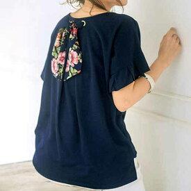 ハトメ使い後リボンTシャツ(M〜3L) ryuryu リュリュ 夏 夏服 レディース カットソー グレー 40代 レディースファッション
