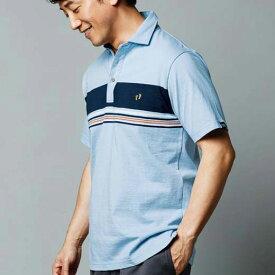 【クーポン配布中】ポロシャツ M L LL<HANGTEN>パネルボーダー半袖ポロシャツ(M〜LL) リュリュ ryuryu 40代 50代 60代 ファッション ポロシャツ メンズ 男性 紳士 ベージュ 夏 夏服