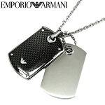 エンポリオアルマーニEMPORIOARMANI【2】EGS1601040ネックレスアクセサリーメンズイーグルマークダブルプレートシルバーブラック