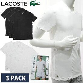 【3枚セット】ラコステ LACOSTE Vネック 半袖Tシャツ 3PACK TH3444 (3)001 ホワイト (4)031 ブラック V-NECK T-SHIRTS T-SHIRTS COL V S M L メンズ インナー ワンポイント 無地 白 黒 Tシャツ ギフト