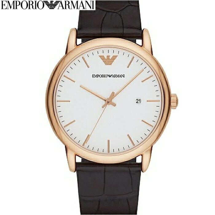 【当店ならお得クーポンあり!】【クリアランス】【本数限定!】エンポリオアルマーニ EMPORIOARMANI AR2502時計 腕時計 メンズピンクゴールド ホワイト ダークブラウン レザー (k-15) 白い腕時計