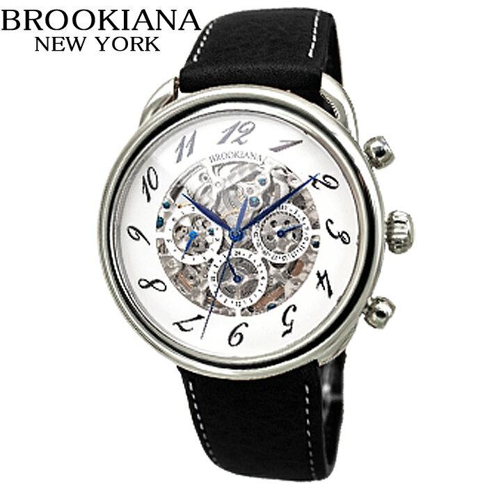 (訳有り 傷有り)ブルッキアーナ BROOKIANA BA1658SVWH時計 腕時計 メンズ 自動巻きホワイト ブラック レザー
