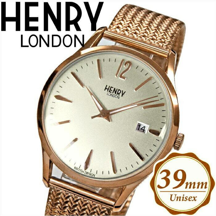 【当店ならお得クーポンあり!】【クリアランス】ヘンリーロンドン HENRY LONDONHL39-M-0026(38) リッチモンド メッシュ時計 腕時計 メンズ レディースシルバー ピンクゴールド 39mm ピンクゴールドの腕時計