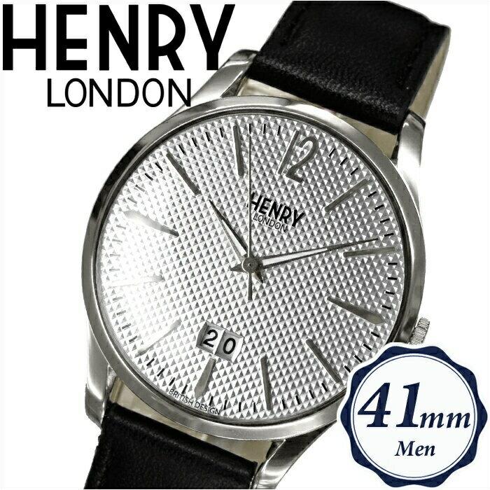 【当店ならお得クーポンあり!】【クリアランス】ヘンリーロンドン HENRY LONDONHL41-JS-0021(31) エッジウェア時計 腕時計 メンズ レディースシルバー ブラックレザー 41mm
