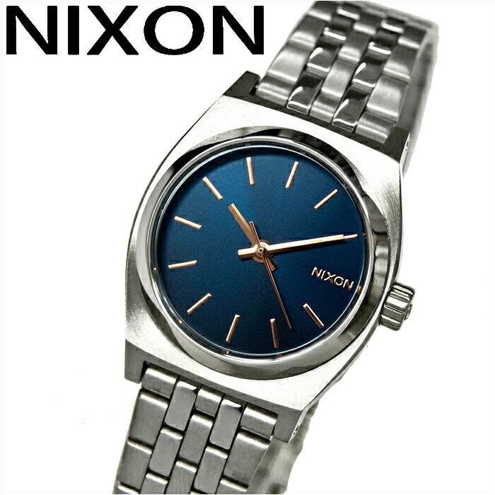 ニクソン NIXON スモールタイムテラーA3992195 腕時計 時計 レディースネイビー×ローズゴールド シルバー