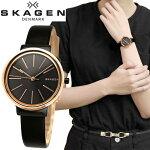 【期間限定3年間保証】スカーゲンSKAGEN時計腕時計レディースレザーブラックピンクゴールドSKW2480