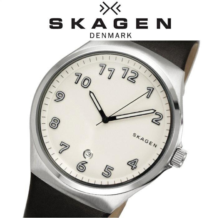 【当店ならお得クーポンあり!】【クリアランス】SKAGEN時計 腕時計 メンズレザー ホワイト ブラック SKW6268【ID】 白い腕時計