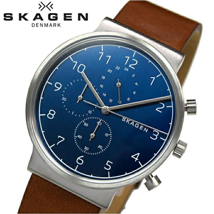 スカーゲン SKAGEN SKW6358時計 腕時計 メンズレザー ブルー ブラウン【ID】