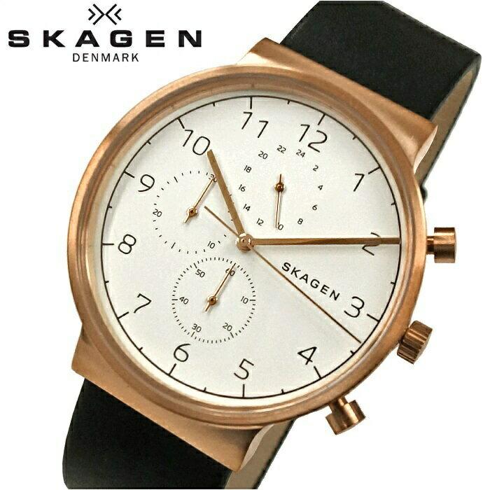 スカーゲン SKAGENSKW6371 時計 腕時計 メンズブラック ピンクゴールド レザー【ID】 黒の時計