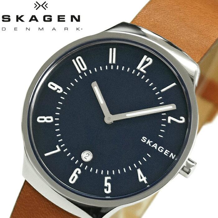 【当店ならお得クーポンあり!】【クリアランス】スカーゲン SKAGEN グレーネン GRENEN skw6457 時計 腕時計 メンズネイビー ブラウン レザー【ID】 青い腕時計