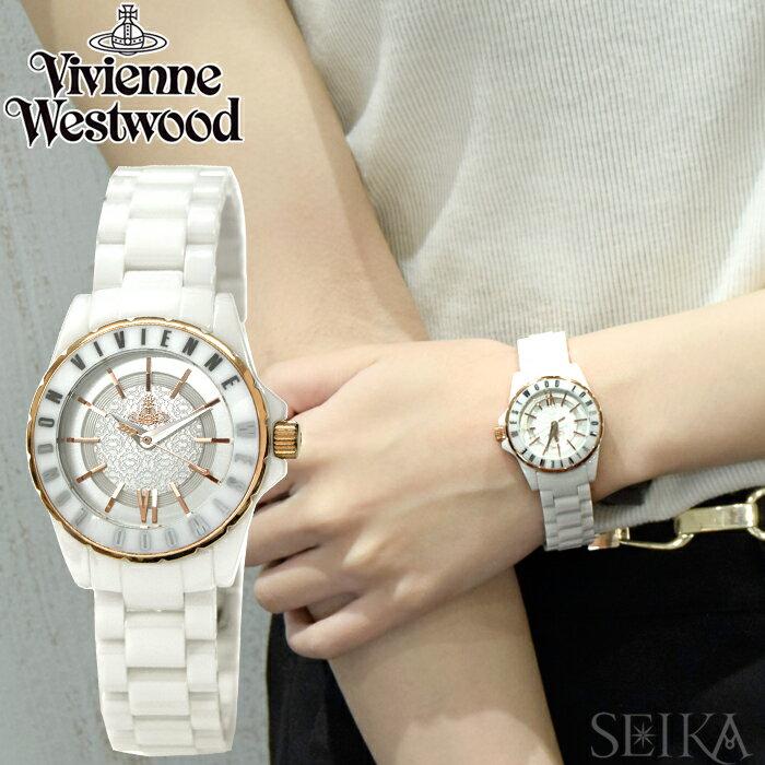 (ショップ袋プレゼント)ヴィヴィアンウエストウッドVivienne WestwoodVV088RSWH 時計 腕時計 レディースホワイト ピンクゴールド セラミック 【G1】