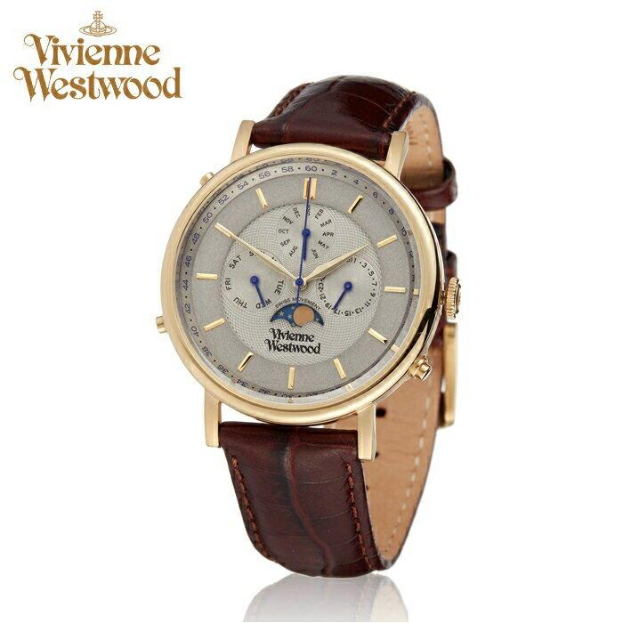 (ショップ袋プレゼント)ヴィヴィアンウエストウッドVivienne Westwood時計 腕時計 メンズグレー ブラウン レザー VV164CHBR