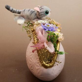 プリザーブドフラワー和風猫ネコねこギフトプレゼント還暦還暦祝い退職お祝い送料無料プリザーブドフラワー誕生日【あす楽対応】【HLS_DU】NP