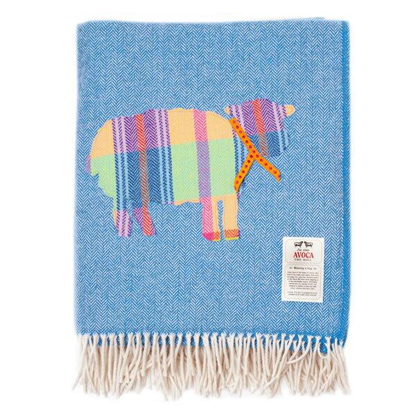 【送料無料】【即納可】AVOCA (アヴォカ) /ラムウール スロー SHEEP (水色×白)サイズ:Knee (142×100cm)