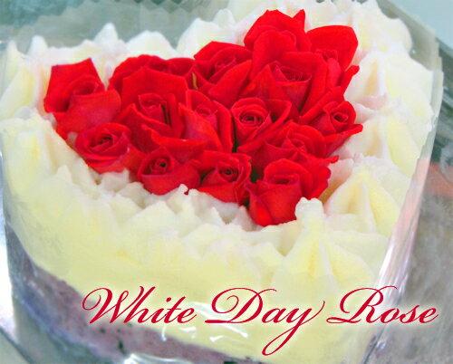 アイスケーキ『ホワイトデーローズ』エディブルフラワー(食用花)【バラ】で豪華なアイスケーキ作りました(*≧∇)ノ~~~