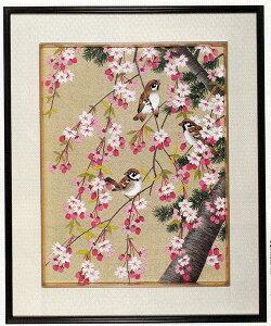 東京文化刺繍キット No455 さくらとすずめ(4号)