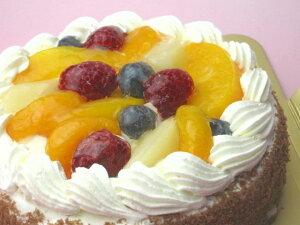 【誕生日ケーキバースデーケーキならこれ!】【送料無料】直径15cm(4〜5名)フルーツ(ラズベリー・ブルーベリー・黄桃・みかん・洋ナシ)生クリームホールケーキ